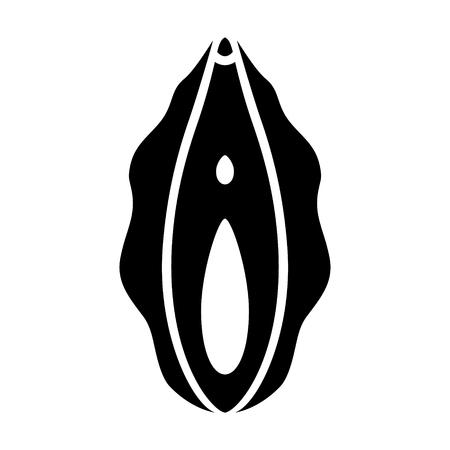 Menselijke vagina, vaginale opening of vrouwelijk voortplantingsorgaan platte vector pictogram voor apps en websites Vector Illustratie