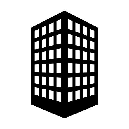 Edificio de oficinas o icono de vector plano de la sede de la empresa corporativa para aplicaciones inmobiliarias y sitios web Ilustración de vector