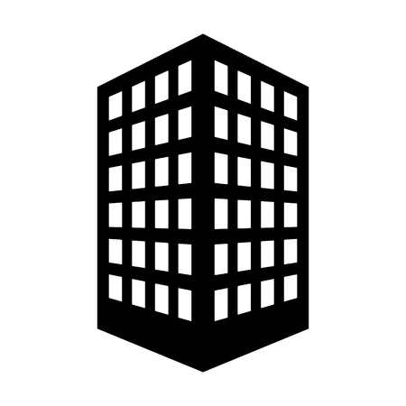 Office building or corporate company headquarters flat vector icon for real estate apps and websites Illustration