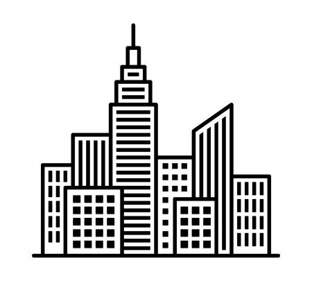 Skyline der Stadtmetropole mit hohen Gebäuden und Hochhaus-Linienkunst-Vektorikone für Apps und Websites Vektorgrafik