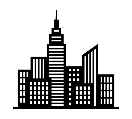 City metropolis skyline silhouette with tall buildings and high rises flat vector icon for apps and websites Illustration