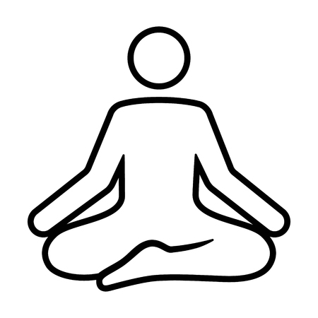 A person meditating in a state of zen calmness line art vector icon for yoga meditation apps and websites
