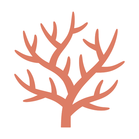 Staghorn branching coral in coral reef flat vector color icon for marine life apps and websites