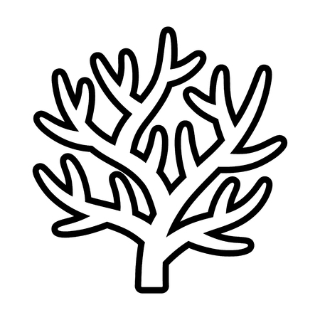 Staghorn branching coral in coral reef line art vector icon for marine life apps and websites