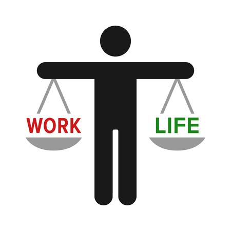 Personne détenir une échelle pour l'icône de vecteur de couleur plat équilibre travail-vie privée pour les applications d'emploi et les sites Web
