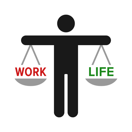 Person hold a scale for work life balance flat color vector icon for job apps and websites Illustration