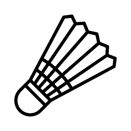 Badminton shuttlecock, bird or birdie line art vector icon for sports apps and websites