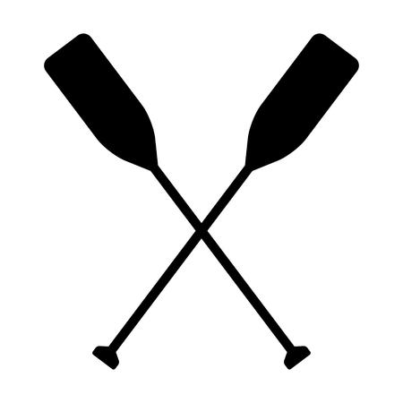 Icono de vector plano de dos remos de bote o remos de canoa para aplicaciones náuticas y sitios web Ilustración de vector