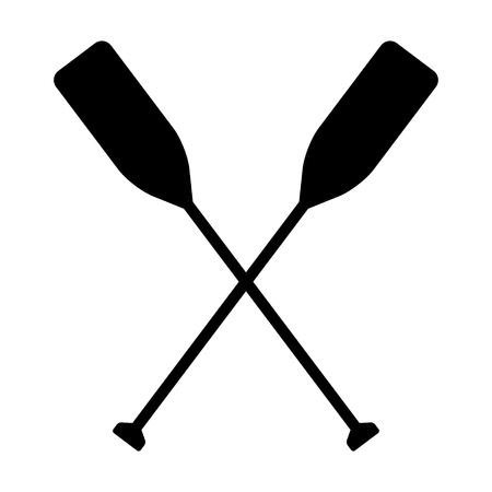 Two boat paddles or canoe oars flat vector icon for nautical apps and websites Illustration