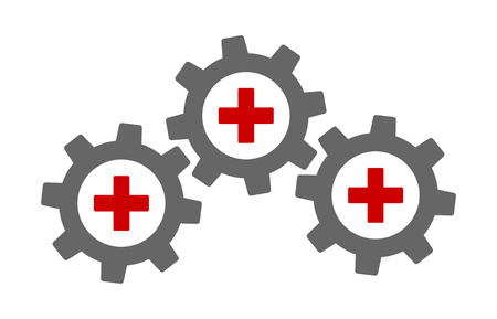 Health data interoperability or health information exchange  HIE flat vector color icon for medical apps and websites