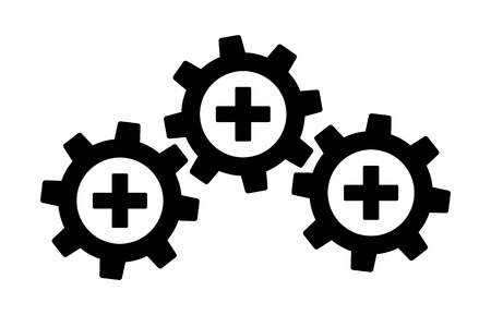 Health data interoperability or health information exchange / HIE flat vector icon for medical apps and websites Stock Illustratie