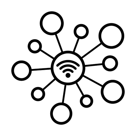Internet of things / IoT or connected devices to wifi line art vector icon for network apps and websites