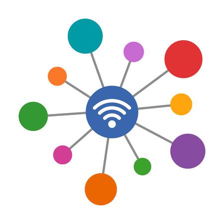 Internet de las cosas / IoT o dispositivos conectados a wifi icono de color vectorial de arte plano para aplicaciones de red y sitios web
