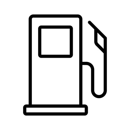 Self service gasoline / gas pump or petrol fuel dispenser station stand line art vector icon for apps and websites