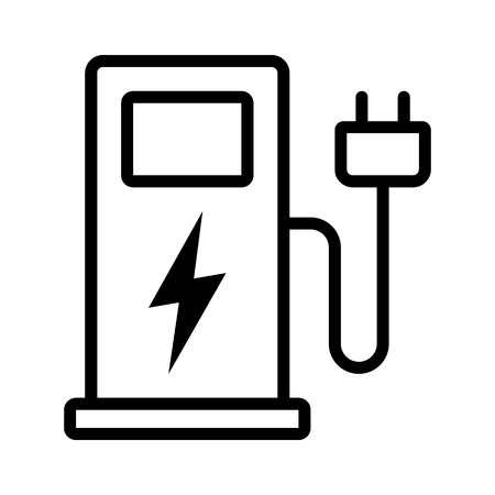 Electric vehicle charging station or EV charge point for electric vehicles  cars line art vector icon for apps and websites  イラスト・ベクター素材