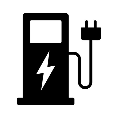 Electric vehicle charging station or EV charge point for electric vehicles / cars flat vector icon for apps and websites Vettoriali