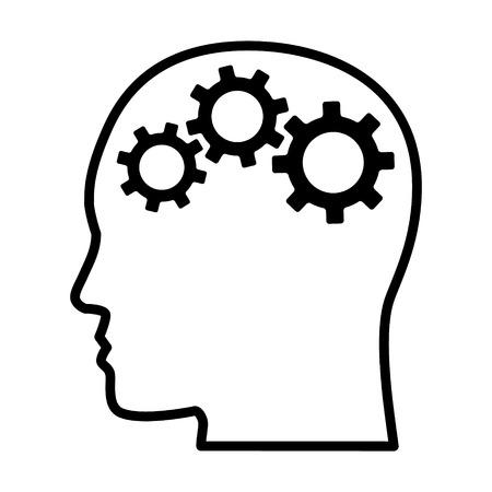 Koła zębate / tryby w głowie reprezentujące krytyczne myślenie i inteligentne umiejętności rozwiązywania problemów linia grafiki wektorowej ikona dla aplikacji i stron internetowych