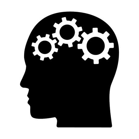Engranajes / engranajes en la cabeza que representan el pensamiento crítico y el icono de vector plano de habilidades inteligentes para la resolución de problemas para aplicaciones y sitios web