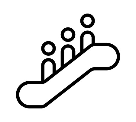 Escalator sign with 3 people standing on it line art vector icon for apps and websites