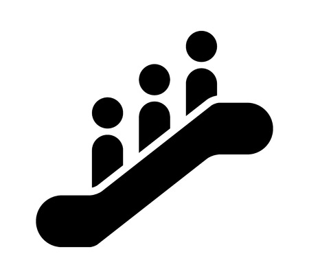 Escalator sign with 3 people standing on it flat vector icon for apps and websites  イラスト・ベクター素材