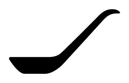 Icona di vettore piatto vista laterale cucchiaio da minestra cinese / asiatico per applicazioni alimentari e siti Web