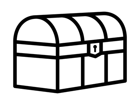 Treasure chest loot box or antique trunk line art icon for games and websites