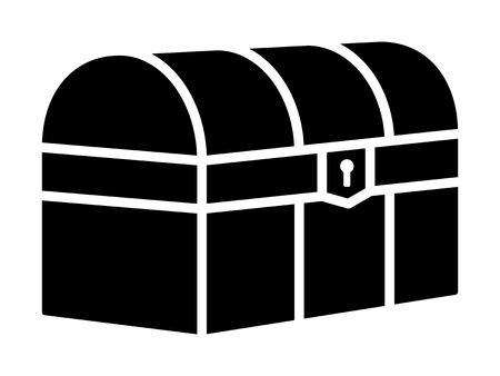 Treasure chest loot box or antique trunk flat icon for games and websites