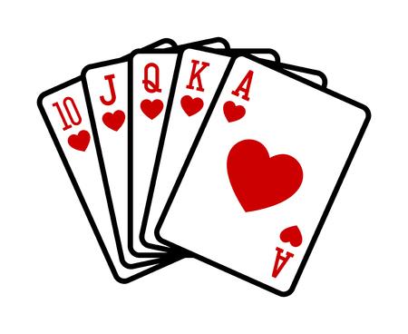 Herz Royal Straight Flush Poker Hand flache Vektor-Symbol für Casino-Apps und Websites
