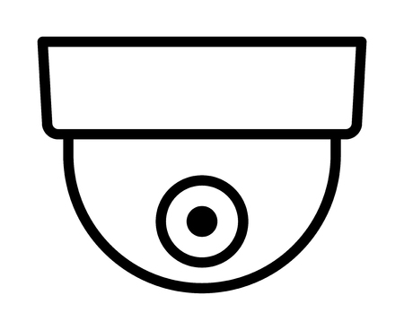 Dome security surveillance video camera or closed circuit television / CCTV line art vector icon for apps and websites