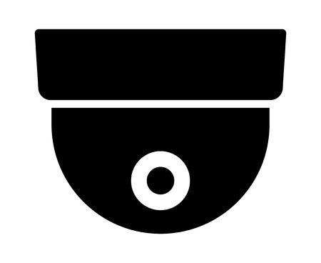 Dome security surveillance video camera or closed circuit television / CCTV flat vector icon for apps and websites