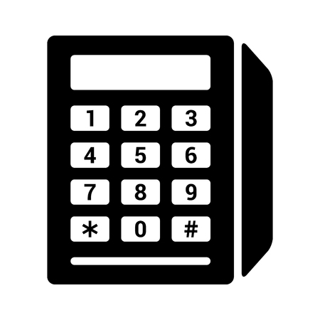 Credit card reader with magnetic stripe swipe and chip insert and number pad flat vector icon for apps and websites Illustration