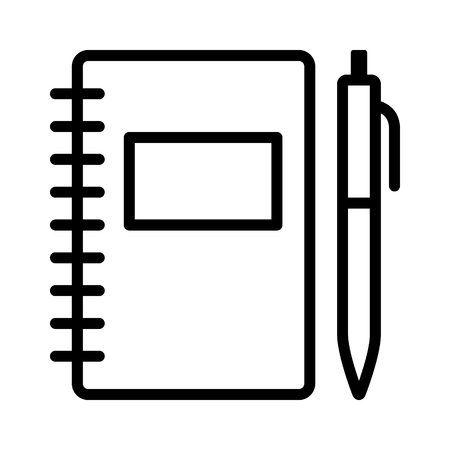 Note taking notebook or diary / journal with pen for writing line art vector icon for education apps and websites