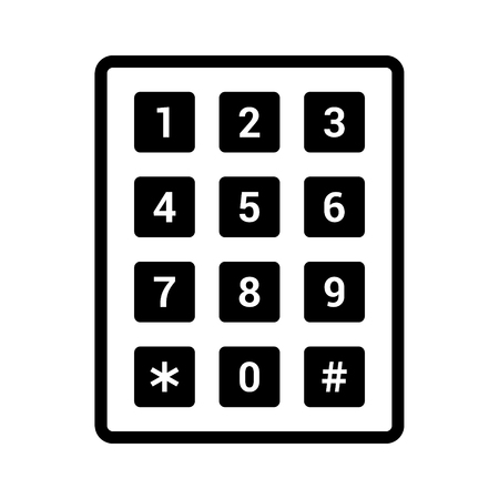Number pad or numeric telephone keypad line art vector icon for apps and websites