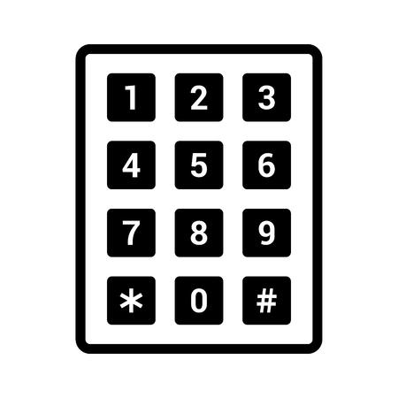 Pavé numérique ou icône de vecteur d'art de ligne de clavier numérique pour applications et sites Web