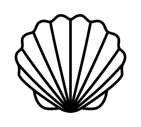 Seashell shell  shellfish or seafood line art icon for wildlife apps and websites Çizim