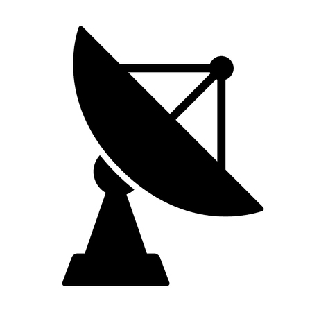 Large satellite dish antenna receiver and transmitter for television and radio transmission flat vector icon for apps and websites Illustration