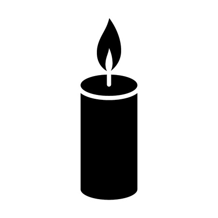 Lit wax candle / candlestick flat vector icon for apps and websites