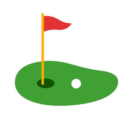 Golfbaan groen met vlag of vlaggenstok en golfbal platte vector kleur pictogram voor sport-apps en websites