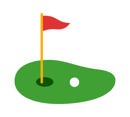 Golf course green with flag or flagstick and golf ball flat vector color icon for sports apps and websites
