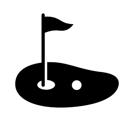 Golf course green with flag or flagstick and golf ball flat vector icon for sports apps and websites Ilustração