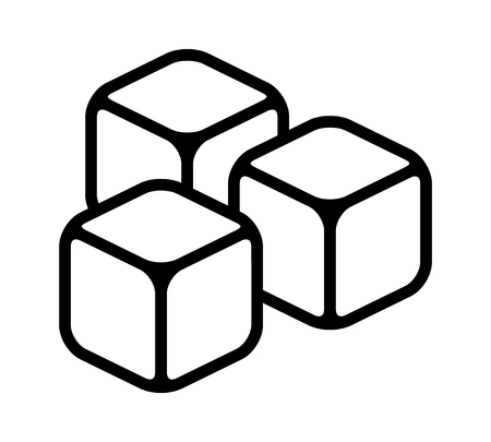 Three ice cubes or sugar cubes line art vector icon for apps and websites