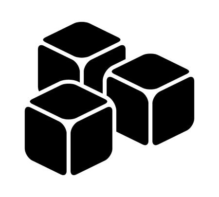 Icono de vector plano de tres cubos de hielo o cubos de azúcar para aplicaciones y sitios web Ilustración de vector