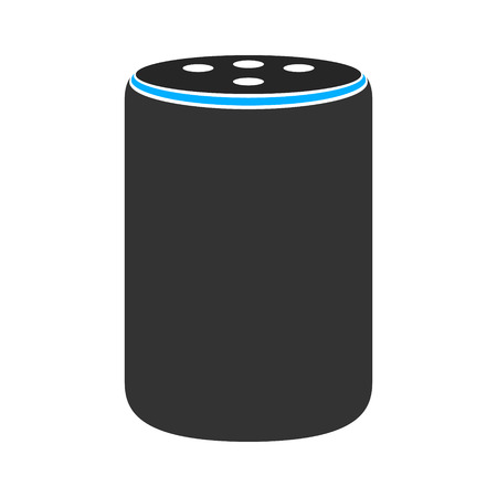 Medium size plus smart speaker virtual assistant flat vector color icon for apps and websites