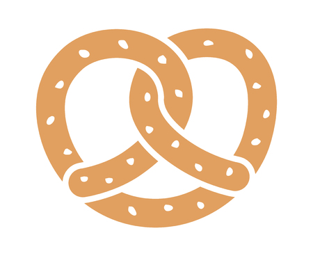 Soft pretzel twisted knot bread flat color vector icon for apps and websites Illustration