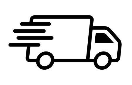 Szybko poruszająca się ikona wektor linii sztuki dostawy ciężarówka dostawcza dla aplikacji i stron internetowych transportu