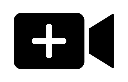 Add new video or upload movie / create media flat vector icon for apps and websites
