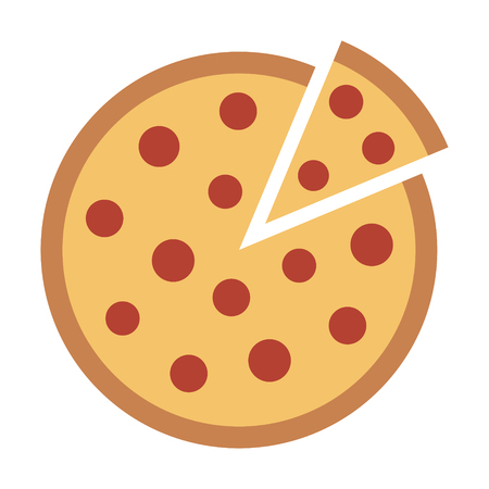 Whole pepperoni pizza pie with loose slice flat vector color icon for food apps and websites  イラスト・ベクター素材