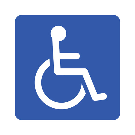 Wheelchair, handicapped or accessibility parking or access sign flat blue vector icon for apps and print