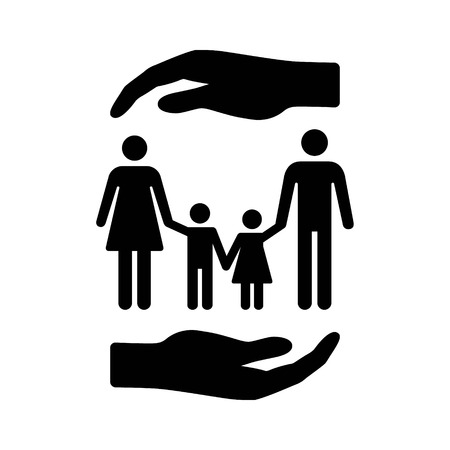 Hand covering family with children or life insurance for family flat vector icon for apps and websites