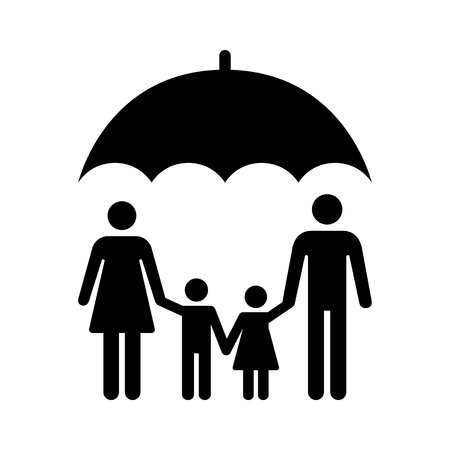 Umbrella covering family or life insurance for family flat vector icon for apps and websites Illustration
